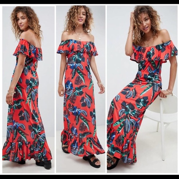ASOS Tropical Printed Maxi Dress Size 14